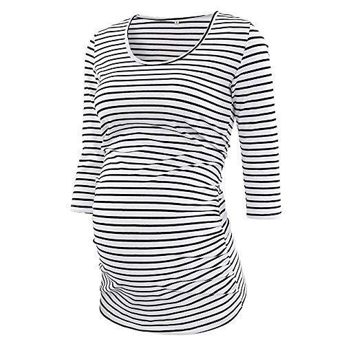 Mutterschaft Größentabelle (Amphia - Gestreifte Oberseite der schwangeren FrauFrauen Streifen 3/4 Ärmel O Neck Mutterschaft Tops Schwangerschaft Bluse T-Shirt - (Weiß,M))
