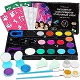 Kinderschminke Set Face Paint - 15 Farben Schminkpalette, Kinder Schminkset Ideal für Partys Mädchen, Halloween & Fasching, 55 Malerschablonen, 2 Temporäre Haarkreiden, 2 Glitzer, 2 Pinsel,2 Schwämme
