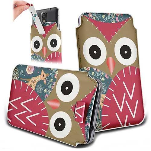 Handytasche / Handyhülle in unterschiedlichen Größen für viele Handys z.B. Samsung Galaxy S7 S6 S5 S4, iPhone 7 6s 6, LG G5 G4 G3, Sony Xperia Z6 Z5 Z4 Z3 & viele weitere Hersteller. Exklusives Design Eule mit Reh