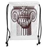 GONIESA Drawstring Sack Backpacks Bags,Ancient Decor,Classical Antique Column Roman Empire Architecture Heritage Culture Print,Burgundy White Soft Satin,5 Liter Capacity,Adjustable String Closu