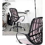 FURNITURE-R France Bürostuhl, verstellbar, Mesh-Motiv, Bürostuhl, 360 Grad drehbar, mit Armlehnen, Rosa
