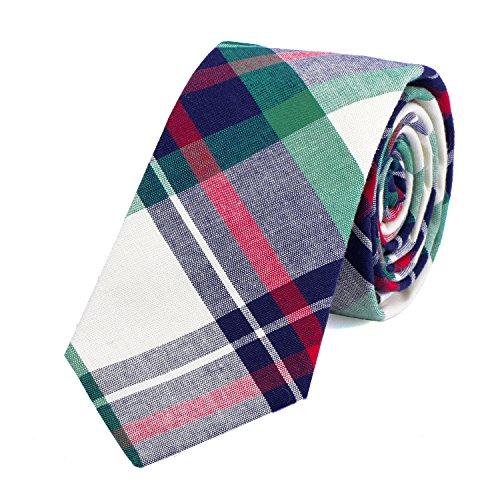DonDon Corbata de cuadros e rayas de algodón para hombres de 6 cm 1kFpE5