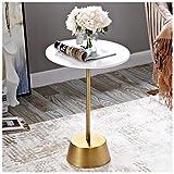 LZG Kleine runde Säulentisch mit Holz Top und Messing Finish Metallhaltig, Accent Beistelltisch, Couchtisch Ecktische for kleine Räume, Wohnzimmer, Bar Decor (Farbe : Weiß, Größe : Hoch)