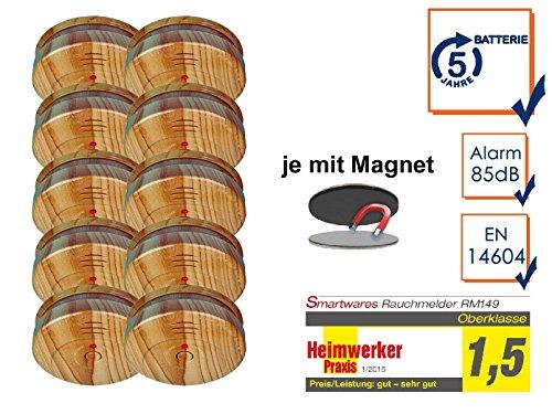 10er SET Rauchmelder in Holzoptik mit 5 Jahres Batterie & EASY Magnetbefestigung