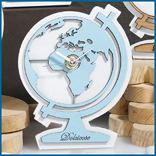 Albalù bomboniere battesimo bambino bimbo maschio orologio tema viaggio mappamondo celeste