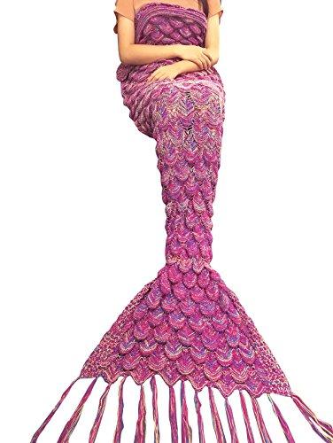 iiniim Meerjungfrau Schwanz Gestrickte Decke Schlafsack Blanket Decke für Mädchen Damen Dunkel Rosa (Für Erwachsene)