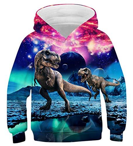 AIDEAONE Jungen Mädchen Dinosaurier 3D Hoodie Pullover Hooded Sweatshirt 8-11 Jahre