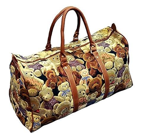 Damen Reisetasche Motiv Bär, XXL Handtasche Gobelin 54cm Modell Bären