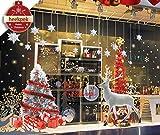 heekpek Noël Autocollants Noel Stickers Fenetre Noël Décoration Autocollant Fenetre Noel Muraux Renne Autocollants Flocons de Neige Noel Autocollant Sticker Statique Autocollants Grand Sticker Noel