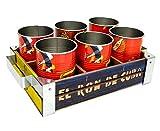 Havana-Club Rum Holzbox Holz Box Kiste Korb Serviertablett für Dosen Becher + 6X Dosen/Becher