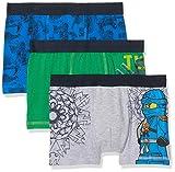 LEGO Wear Jungen Boxershorts Ninjago M-72648-3-er Pack, 3er Pack, Mehrfarbig (Grey Melange 921), 104