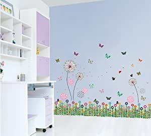 Walplus Wall Stickers Combo Pink Dandelion Plus Colourful Grass -  Office Home Decoration, 180cm x 120cm, PVC, Removable, Self-Adhesive, Multi-Color
