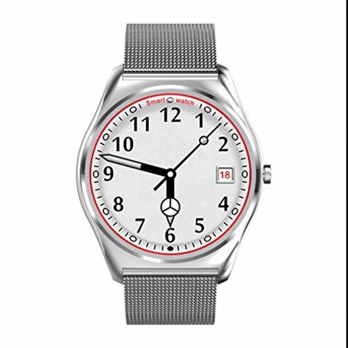 Smart Watch Pulsmesser,Touchscreen Smartwatch Armbanduhr Anti-Telefonverlust Fern Fotografieren Chronograph Kalender Datum für iPhone IOS und Android Smartphones