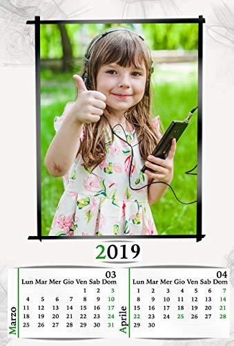 Personalisierter Kalender 2019 6 Seiten plus Einband 30 x 45 cm mit 1 gebundener Seite mit Metallspirale und Wandhaken.