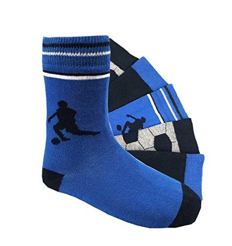 Kinder Socken handgekettelt Spitze ohne Naht 6 Paar aus besonders weicher Baumwolle bunter Mix Gr. 19-42 (35-38, Fußball) -