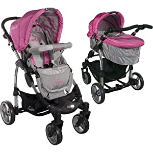 2in1 Travel Set ARTI Comfort B503 2w1 Pink/Gray Babypram and Pushchair/ Baby Stroller   12