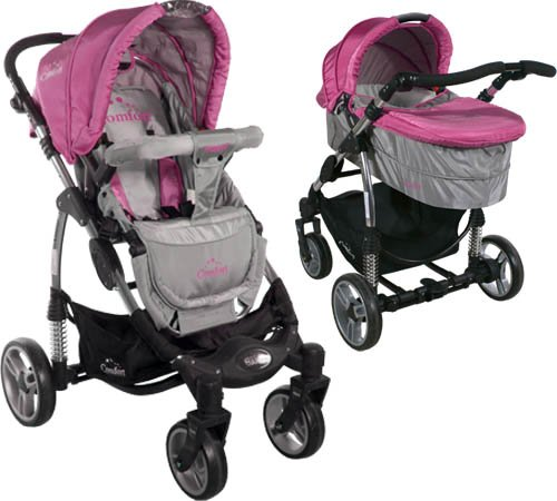 2in1 Travel Set ARTI Comfort B503 2w1 Pink/Gray Babypram and Pushchair/ Baby Stroller   1