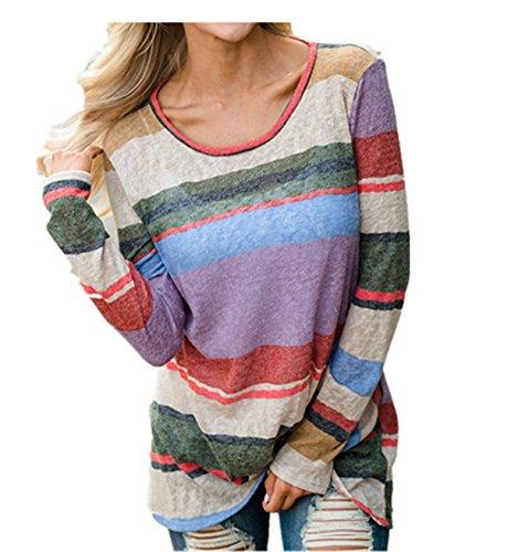 Mujer Casual Camiseta algodón Tops Blusa,Longra ❤️ Moda Casual Sudadera Rayas Tops de manga larga de pétalos O-Neck Blusa Pullover Camisetas y tops ropa deportiva para mujer