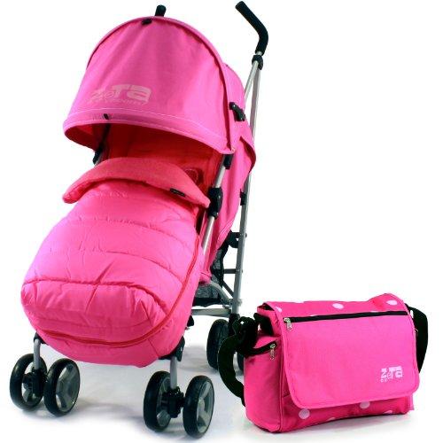 ZETA VOOOM - RASPBERRY + MC Footmuff + Bag & Raincover Stroller Pushchair Buggy suitable from birth