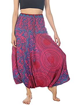 Lofbaz Jumpsuit Pantalones Harem de Cintura Estampado de Flores Funky Smocked Mujeres