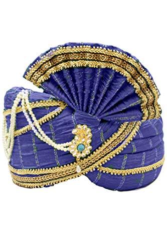 Sonisha MPG7000 Blau und Gold Indian Turban, Wedding Pagri, Safa, Bollywood Hat Poly Turban
