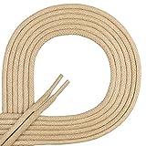 Di Ficchiano-SW-03-beige-80 Gewachste Runde Schnürsenkel, Schuband, Laces, Durchmesser 2-4 mm für Businessschuhe, Anzugschuhe und Lederschuhe