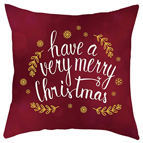 YSFWL Kissenbezug Quadratisch Weihnachten Merry Christmas Weihnachtsbaum Drucken Sofakissen Dekoration Herbst Kissen Dekokissen Sofa Bett Heimtextilien Home Decor Festival Cover Cushion