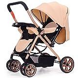 baby stroller Kann Liegen und Falten Zwei-Wege-Vierrad-Stoßdämpfer Kinderwagen Faltbare Verstellbare Kinderwagen,Khaki