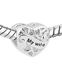 Silver 925 New I Love You My Wife Heart Charms Sale Cheap Beads fit Pandora Chamilia Charm Bracelet