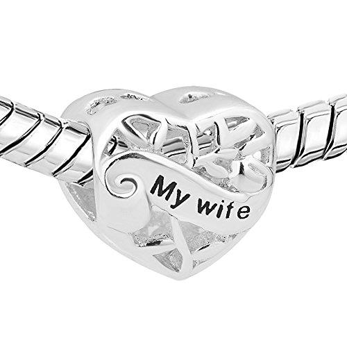 Fit pandora charms - ciondoli in argento 925 a forma di cuore con scritta