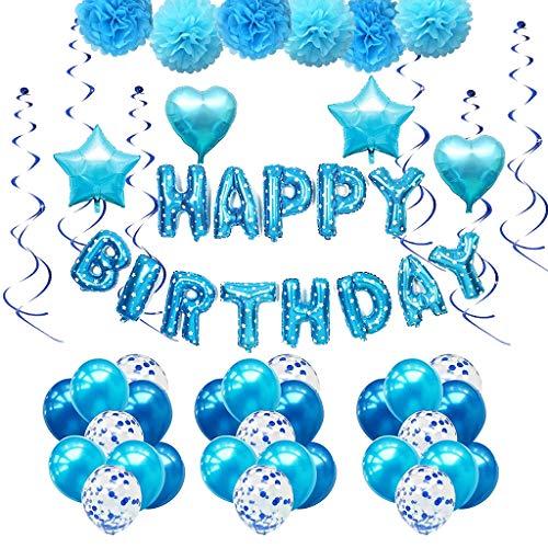 Amycute Geburtstag Party Dekoration, 51 stück Junge Blau Happy Birthday Girlande Pompoms Luftballons Spiralen Geburtstag deko Set Perfekte Geburtstagsfeier ()