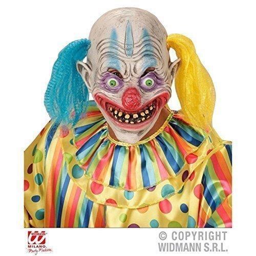 Halbmaske Psycho Clown mit Haar / Halloween / Kostümzubehör / (Kostüm Kind Clown Psycho)