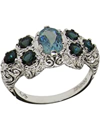925 Sterling Silver Natural Aquamarine & London Blue Topaz Womens Cluster Ring