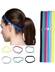 6 Bandeaux de Sport en Silicone de Couleurs Différentes SWEETBB Bandeaux Elastiques Bandes de Cheveux Non-glissement Yoga Foot pour Femmes et Hommes