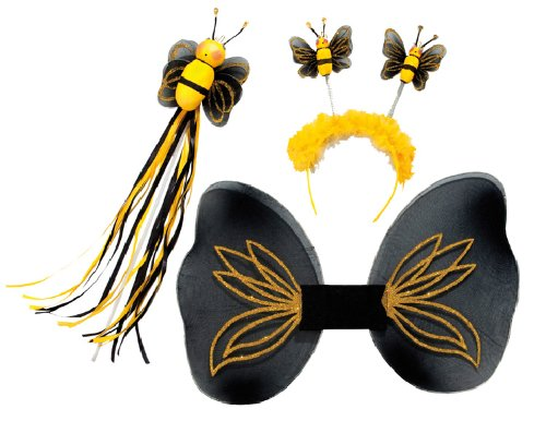 Karneval Kostüm Zubehör Set Biene Flügel Fühler Feenstab zu - Biene Flügel Fühler Kostüm