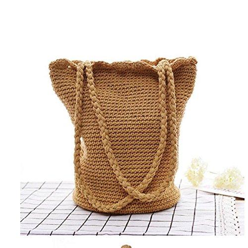 onemoret Sommer Frauen Beach Bag handgefertigt Stroh Taschen weiblich Kordelzug Tote Korb Handtaschen casual Reise Zubehör Geschenk für Mädchen -