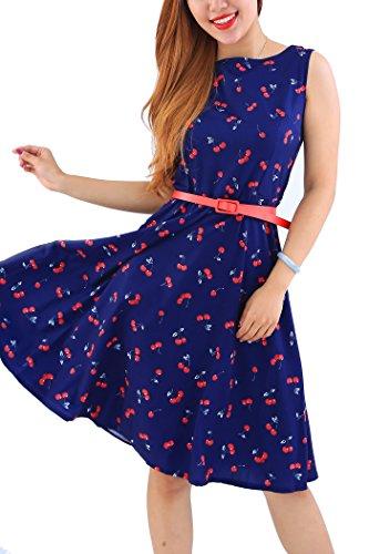 YMING Hepburn Stil Swing-Kleid AbschlussballkleidHochzeitgast Kleid Blumenkeider,Dunkelblau,Kirschen,M/DE 38-40