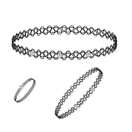 NNITS 3 pcs Combo of American Diamond Studded Flexible black choker Necklace Bracelet ring suitable for woman or girls for everyday or party wear  available at amazon for Rs.99