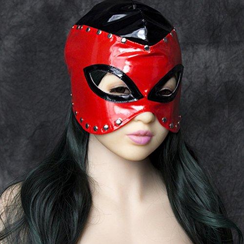 BESTOYARD Leder Maske Red Halbe Gesichtsmaske Faux Gesichtsmaske Roleplay Kostüm Maske mit Nieten für Paare Cosplay Costome Party (Katze Kostüm Für Paare)