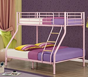 Nexus Bunk Bed - Triple Sleeper Bed - Pink Finish - Single and Double Bunk Bed - Bunk Bed Ladder - Triple Sleeper Bunk Bed - Double Bed Base and Single on top