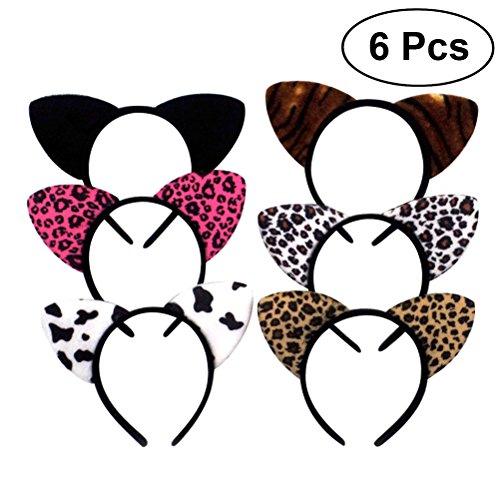 BESTOYARD Cerchietto con orecchie da gatto colorati per adulti e bambini 6PCS(Colori casuali)
