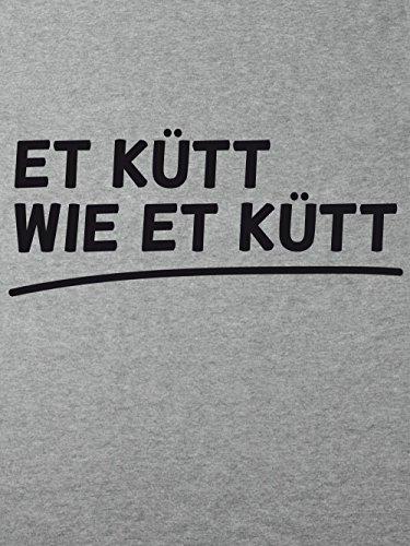 clothinx Herren T-Shirt Karneval Et kütt wie et kütt Sports Grey mit schwarzem Aufdruck