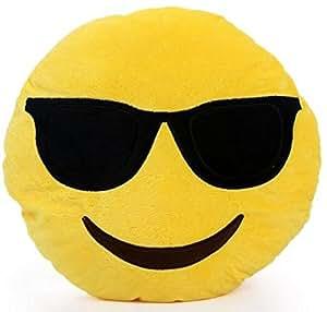 NO: 1 Emoji Smiley Emoticon rond coussin oreiller en peluche peluche peluche lunettes de soleil