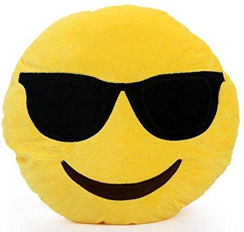 CITY Emoji Coussin Rond Avec Lunettes Solaires Lunettes Fumées et Visage Souriant En Peluche Oreiller 0643334465642