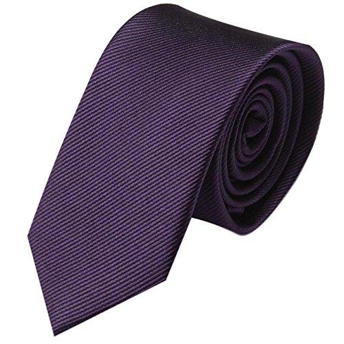 GASSANI Krawatte 6cm Schmal gestreift | Violette Lila Rips Herrenkrawatte zum Sakko | Slim Schlips Binder einfarbig Violett mit feinen Streifen (Gestreift Lila Krawatten)