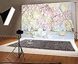 YongFoto 3x2m Vinyl Foto Hintergrund 3D Blume Blumenwand Trendiges Blumenmuster Abstraktes DIY Fotografie Hintergrund Fotoshooting Hochzeit Party Portraitfotos Fotografen Kinder Fotostudio Requisiten