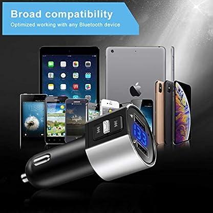 iVoler-Bluetooth-FM-Transmitter-KFZ-Auto-Radio-Adapter-Freisprecheinrichtung-Car-Kit-Dual-USB-Ladegert-5V34A-LED-Anzeige-Untersttzt-USB-Stick-fr-iOSAndroid-Gerte-Silber