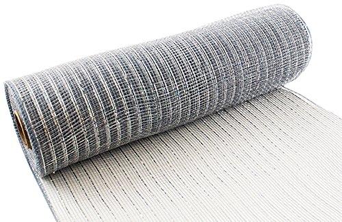 Eleganza Nr. 24Metallic Deco Mesh, Silber, 25cm x 9,1m Metallic-poly-mesh