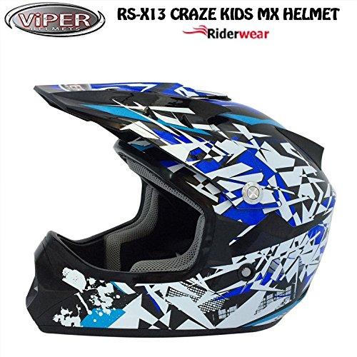 NEW KIDS Motocross Casco RS cartone Craze Junior Moto Quad ATV ACU ECE Approvato ON e OFF ROAD Casco in Nero/Blu, Black/Blue/Gold, S