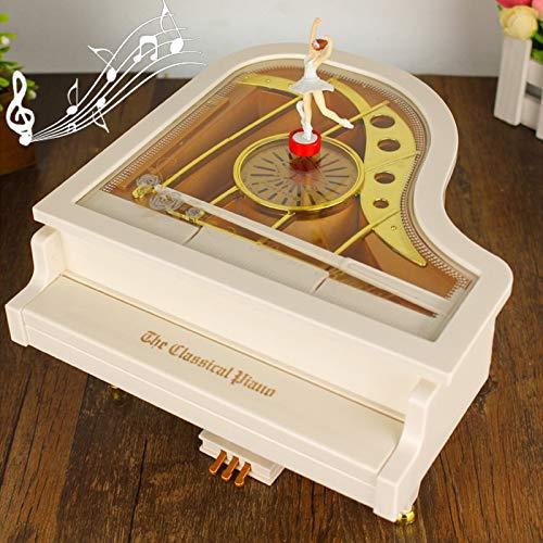 JINYANG Spieluhr Mechanisch Klassische Ballerina Mädchen Tänzerin Das Klavier Spieluhr (Weiß)
